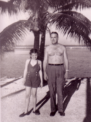 Marilyn and her father in Florida